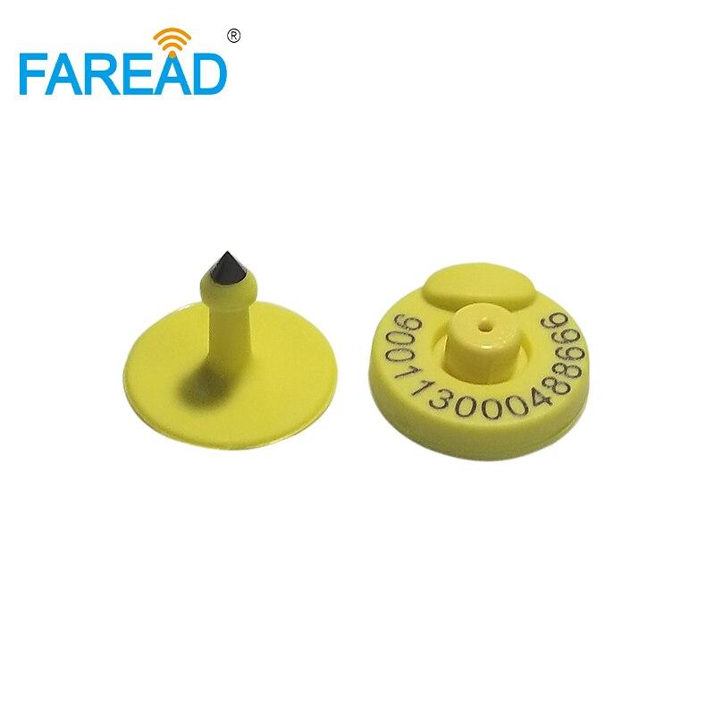 x100pcs FDX B ISO11784 5 RFID animal ear tag With laser Free ICAR Coding 134 2khz