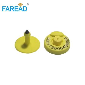 x100pcs FDX-B ISO11784/5 RFID animal ear tag With laser Free ICAR Coding 134.2khz frequency tag for animal breeding read/write