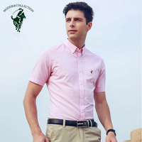 2019 Fashion Summer Men's Short Sleeve Shirt Breathable Smart Casual Style Polka Dot Regular Fit Solid Color Button Down Shirt