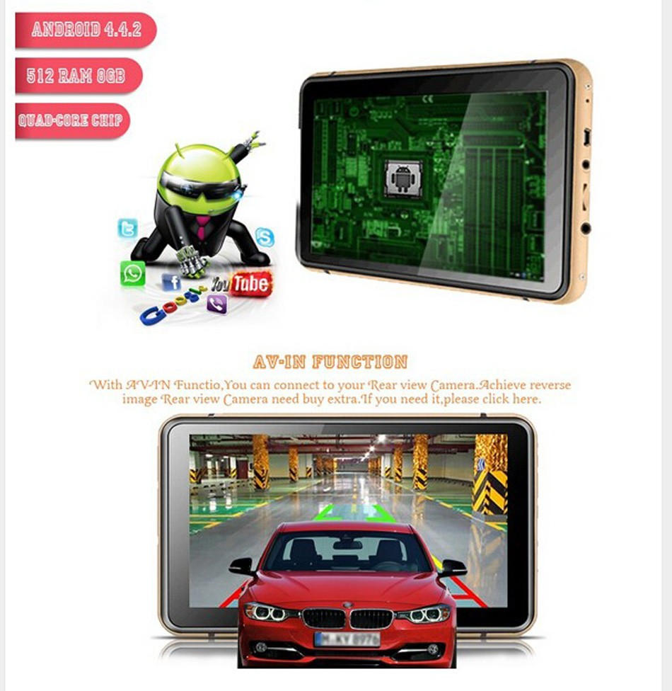 7 Inch Bluetooth Vehicle Android GPS Navigation Car DVR Dash Cam Video Recorder 512MB 8GB AV-IN WIFI Truck GPS Navigator Free Map -04