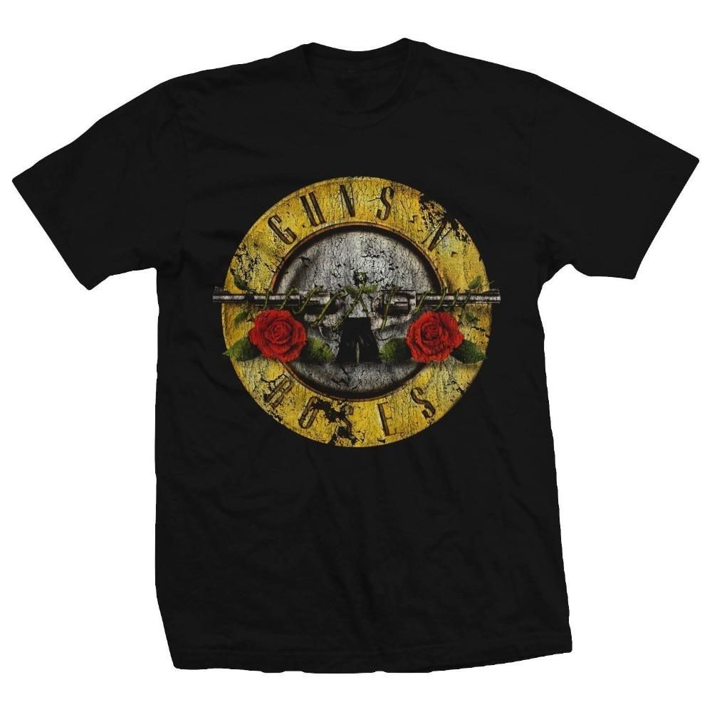 New Brand T Shirt Men Guns N Roses Bullet Logo Black Men's Graphic T-Shirt New Hip-Hop Tops Tees