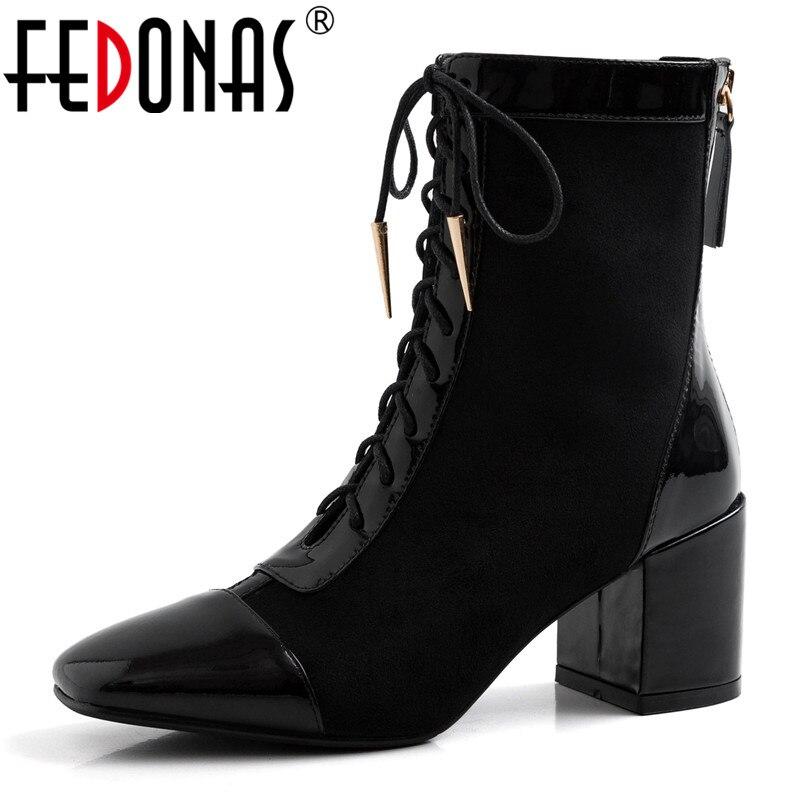 FEDONAS femmes talons hauts bottines vache en cuir verni parti chaussures femme 2020 hiver moto bottes pour femmes mi-mollet bottes