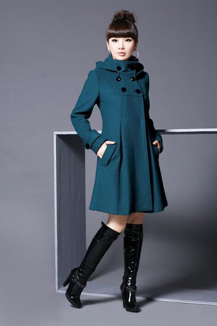 AQ128 Winter Slim Mandarin Collar Women Woollen Coat Double Breasted Women Warm Hoodies Long Outerwear Wool Coats 4XL