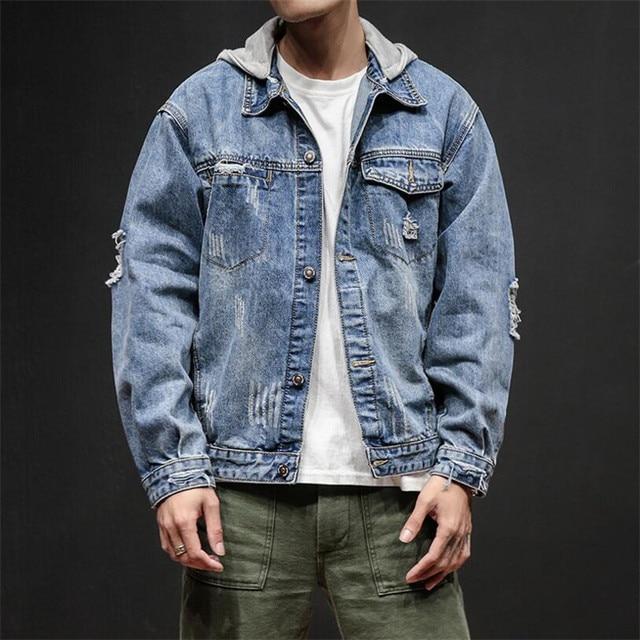 Hooded Jeans Jacket Men Casual Hole Men Jackets Jackets And Coats Autumn New Arrival Chaqueta Hombre Plus Size 5XL DS5062