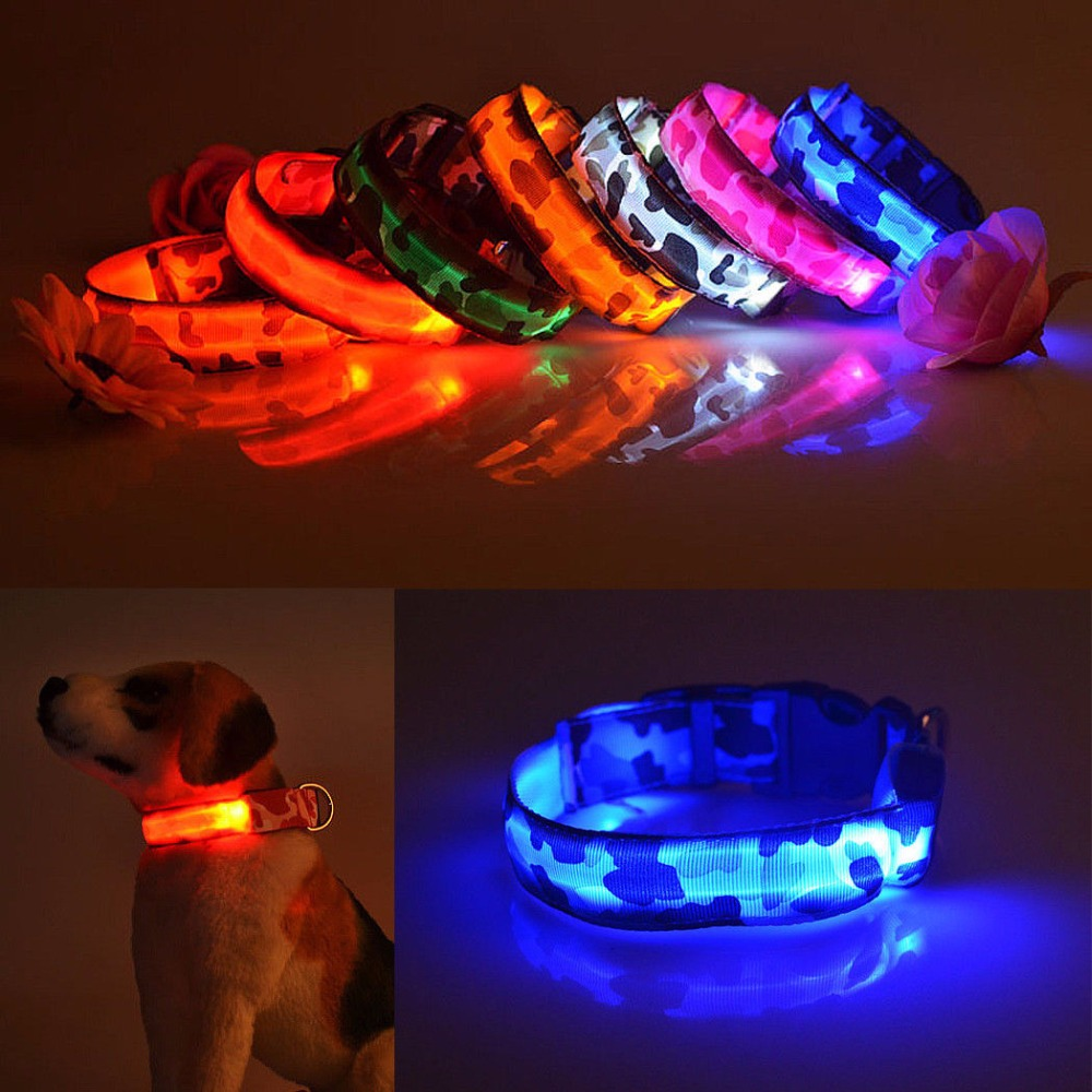 led safety reflective up nylon collar rechargeable adjustable light itm flash flashing with plastic pet dog