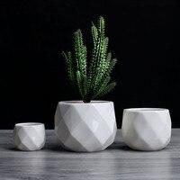Креативный керамический Алмазный геометрический цветочный горшок простое растение суккулент контейнер зеленые плантаторы маленькие горш...