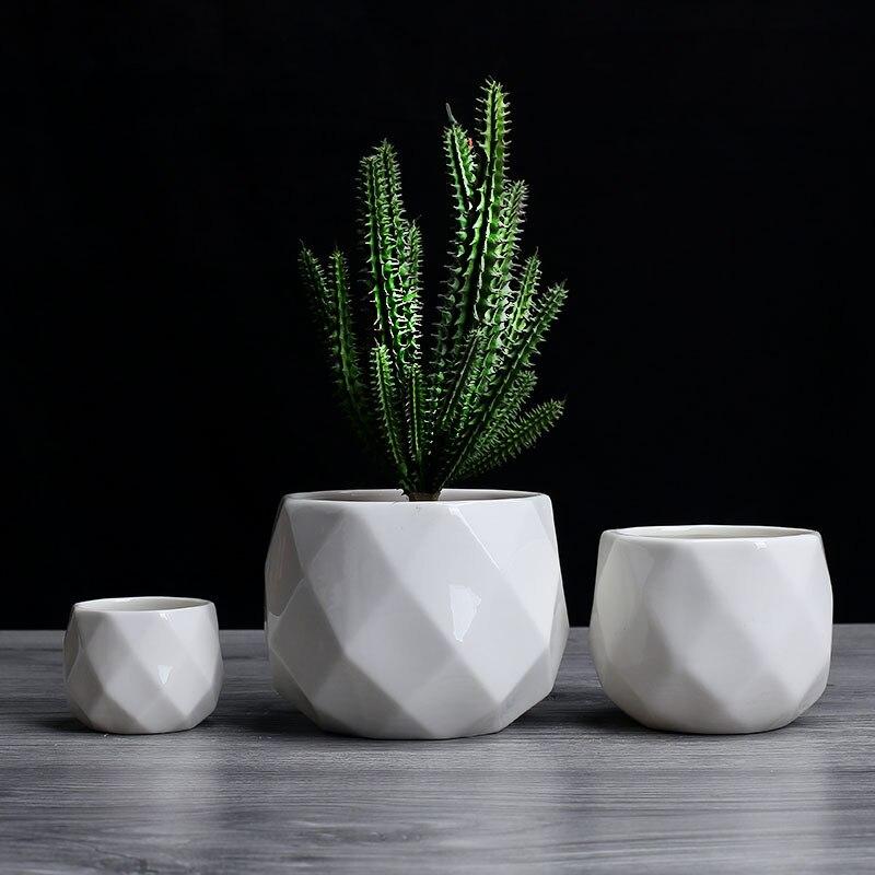 Creatieve Keramische Diamant Geometrische Bloempot Eenvoudige Vetplant Container Green Plantenbakken Kleine Bonsai Potten Woondecoratie