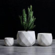 Творческий керамика алмаз геометрический цветочный горшок простой суккулент завод контейнер зеленый кашпо Малый бонсай горшки