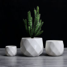 Creative Ceramic Diamond Geometric Flowerpot Simple Succulent Plant Container Green Planters Small Bonsai Pots Home Decoration(China)