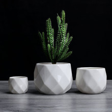 Creative Ceramic Diamond Geometric Flowerpot Simple Succulen