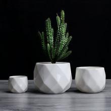 Creative Ceramic Diamond Geometric Flowerpot Simple Succulent Plant Container Green Planters Small Bonsai Pots Home Decoration