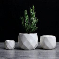 Criativo cerâmica diamante geométrico vaso de flores simples planta suculenta recipiente verde plantadores pequenos vasos bonsai decoração para casa