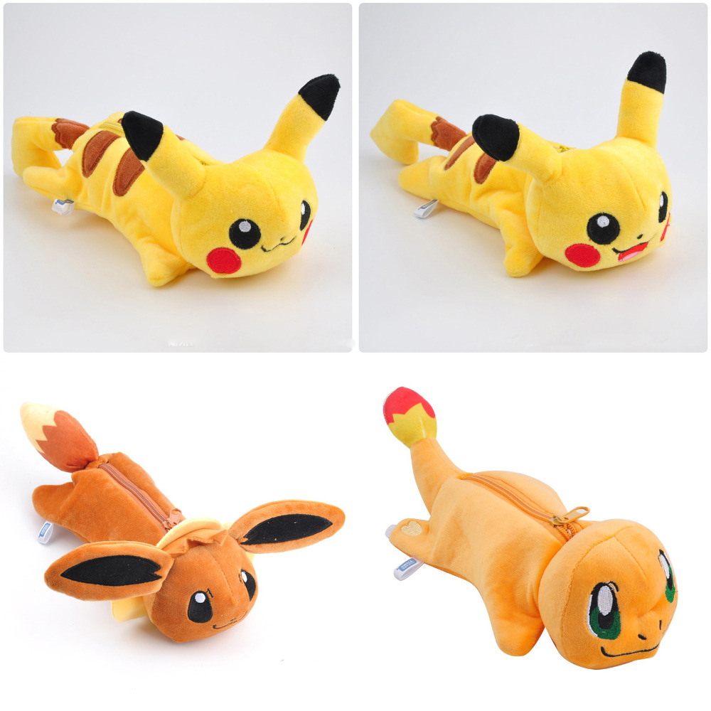 Anime Pikachu Pikachu, Eevee, Charmander Soft Plush Toy Pencil Case Bag Stationery Pouch Cosmetic Case Office School Supplies elf ball pikachu japan anime monster balls foldable shopping bag pencil case storage bags key chain comics figure model toy gift