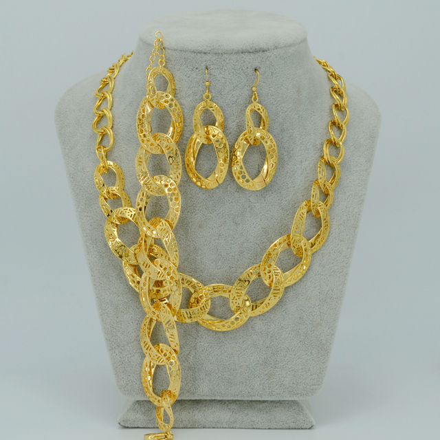 Africa Set Jewelry Wedding Necklaces Earrings Bracelets, GOLD PLATED Jewelry Nigeria/Brazil/Cuba/Arab Necklace sets #002801