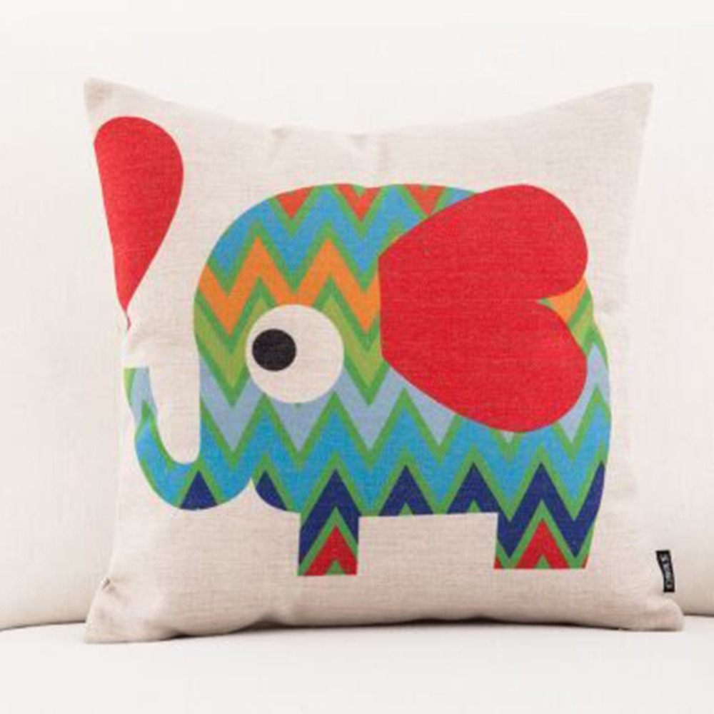 LOZUJOJU Quality stitching cartoon elephant pattern cushion cover home decor pillow case for kids living room sofa bedroom chair