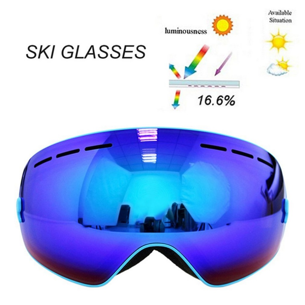 Fashion Spherical Surface Skiing Goggles Double Layers UV400 Anti-Fog Mask Glasses Professional Men Women Snowboard Goggles