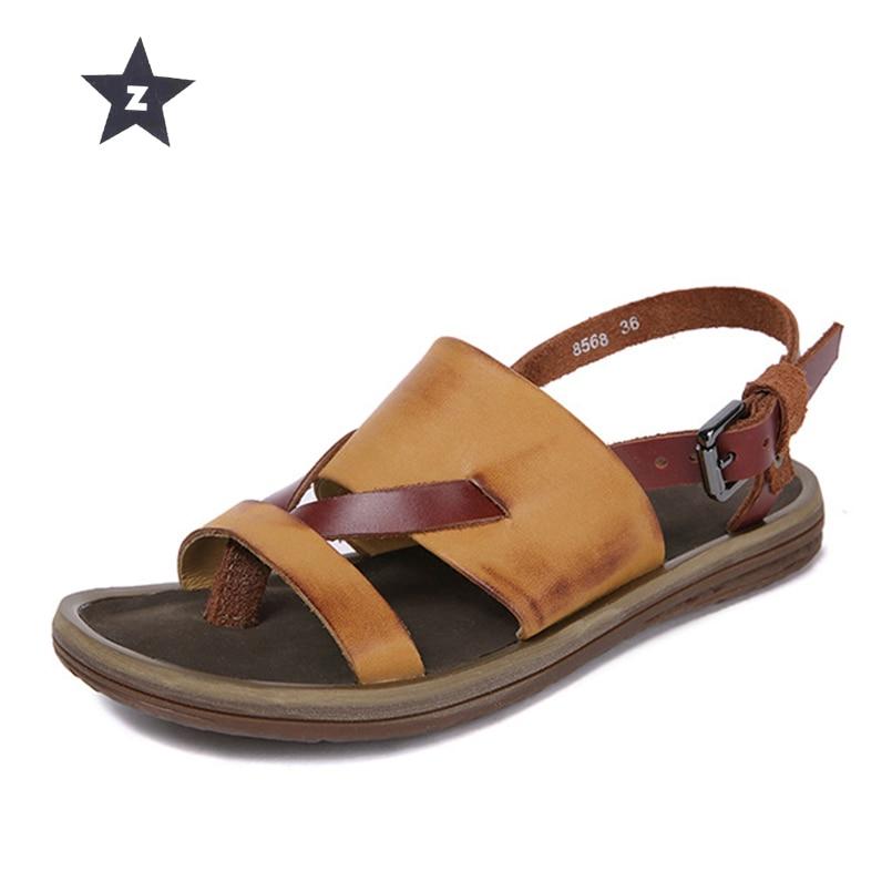 Z women sandals slippers women leather shoes casual retro flat beach slippers summer sandals women home
