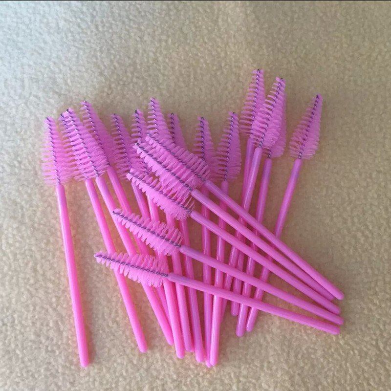 1000 Pcs Lot Pink Disposable Eyelash Brushes One Off Eyelash Brush Make up tools Mascara Wand