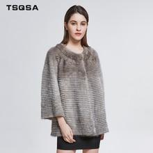 TSQSA Для женщин реального норки пальто натурального Меха женский Костюмы модные Повседневное шею регулярные одежда меха леди пальто TAC1839