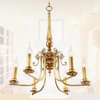 Bedroom Antique 6 arm yellow Copper Chandelier Lighting palor dining Room led candle Chandelier shopcase Cafe Kids light fixture