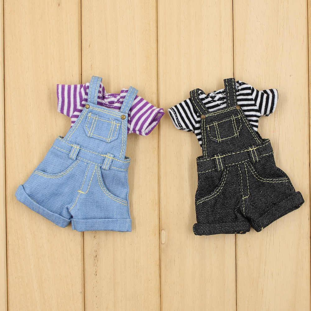 Одежда для 1/6 кукол Blyth; 2 предмета; футболка; комбинезоны и комбинезоны; 2 цвета