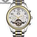 Alta calidad tourbillon guanqin hombres relojes de primeras marcas de lujo relojes de los hombres mecánicos automáticos de zafiro resistente al agua relojes de pulsera