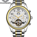 Alta qualidade de safira guanqin tourbillon homens relógios top marca de luxo relógios dos homens automáticos mecânicos relógios de pulso à prova d' água
