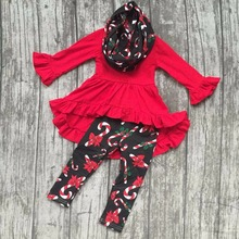 new arrival baby winter girls 3 pieces sets with scarf hook boutique children cotton clothes candy cane red dress top outfits