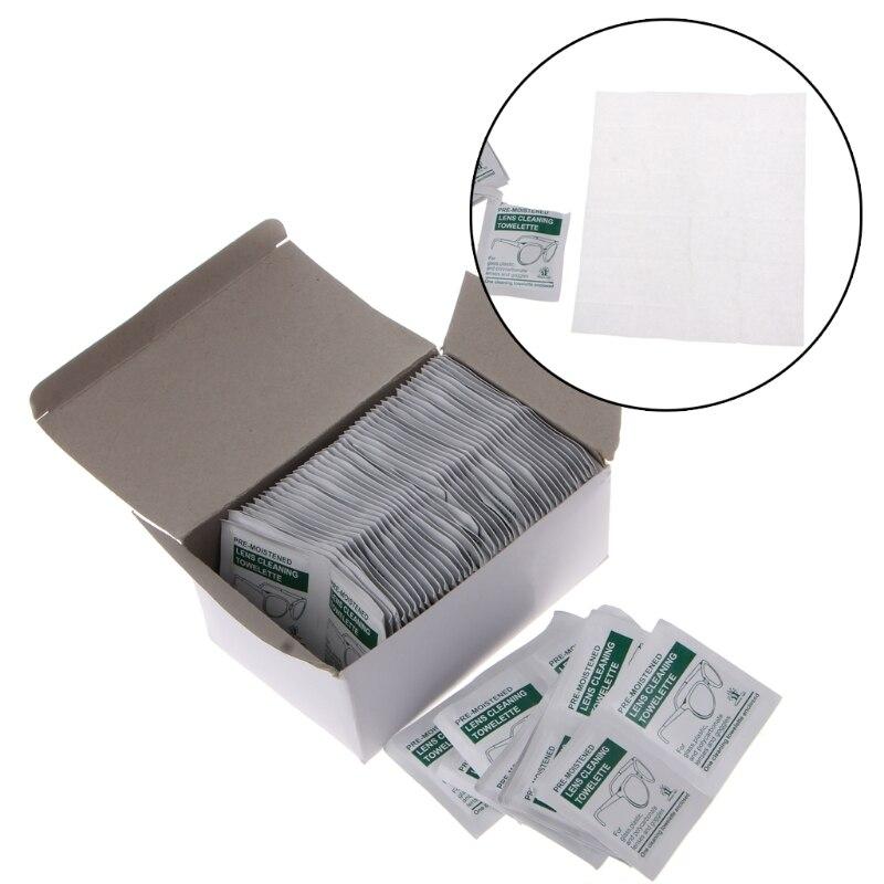Envío gratuito 100 PC Unid paño de limpieza desechable toallitas húmedas Anti Frog lente lentes pulido