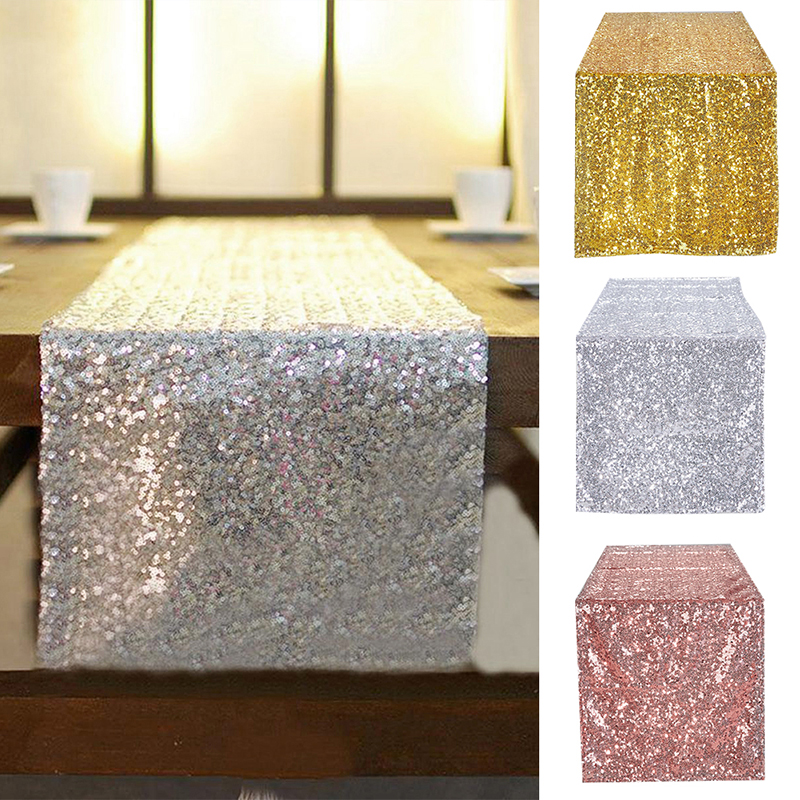 10pcs lot 30x275cm 30x180cm Gold Rose Gold Silver Sequin table runner for Party table cloth Weddings