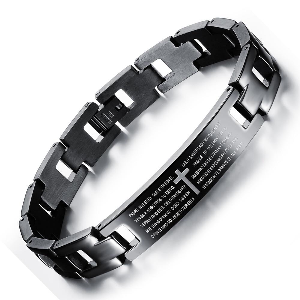 Испанский Библии молитва браслеты коррозии нержавеющей стали мужской браслет черное покрытие ювелирные изделия подарок для мужчины