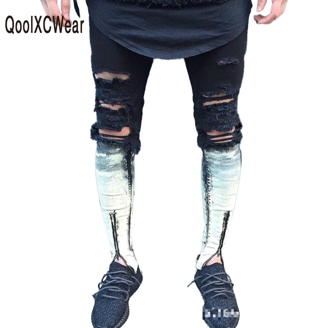 2b0dccb488 US $30.5 15% OFF|QoolXCWear Zipper Jeans For Men Skinny Destroyed Famous  Slim Brand Designer Hip Hop Swag Tyga Black White Patchwork biker Jeans-in  ...