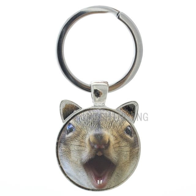 Monchhi arte animal Esquilo Kawaii cabochão de vidro foto do anel chave de cadeia do vintage bonito hamster keychain crianças presentes de Ano Novo CN216