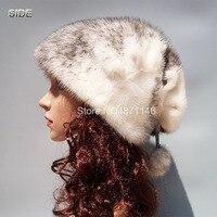 Новая стильная зимняя женская шапка из натурального меха норки высокого качества с натуральным благородным узором, шапки Скалли из натурал