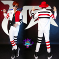 red black white block men suits  costume singer dancer show party Male dj costume slim jacket male suit ds costumes bar