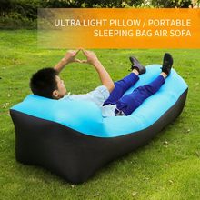 Lazy sofa portable inflatable sleeping bag ultra light camping sleeping bag air cushion fast breathable beach lounge chair(China)