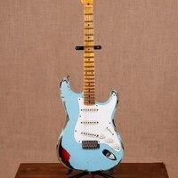Новый стандартный ручной работы ST электрогитара, клен гриф гитары ra, синий цвет stings gitaar, реликвии руками, реальные фотографии