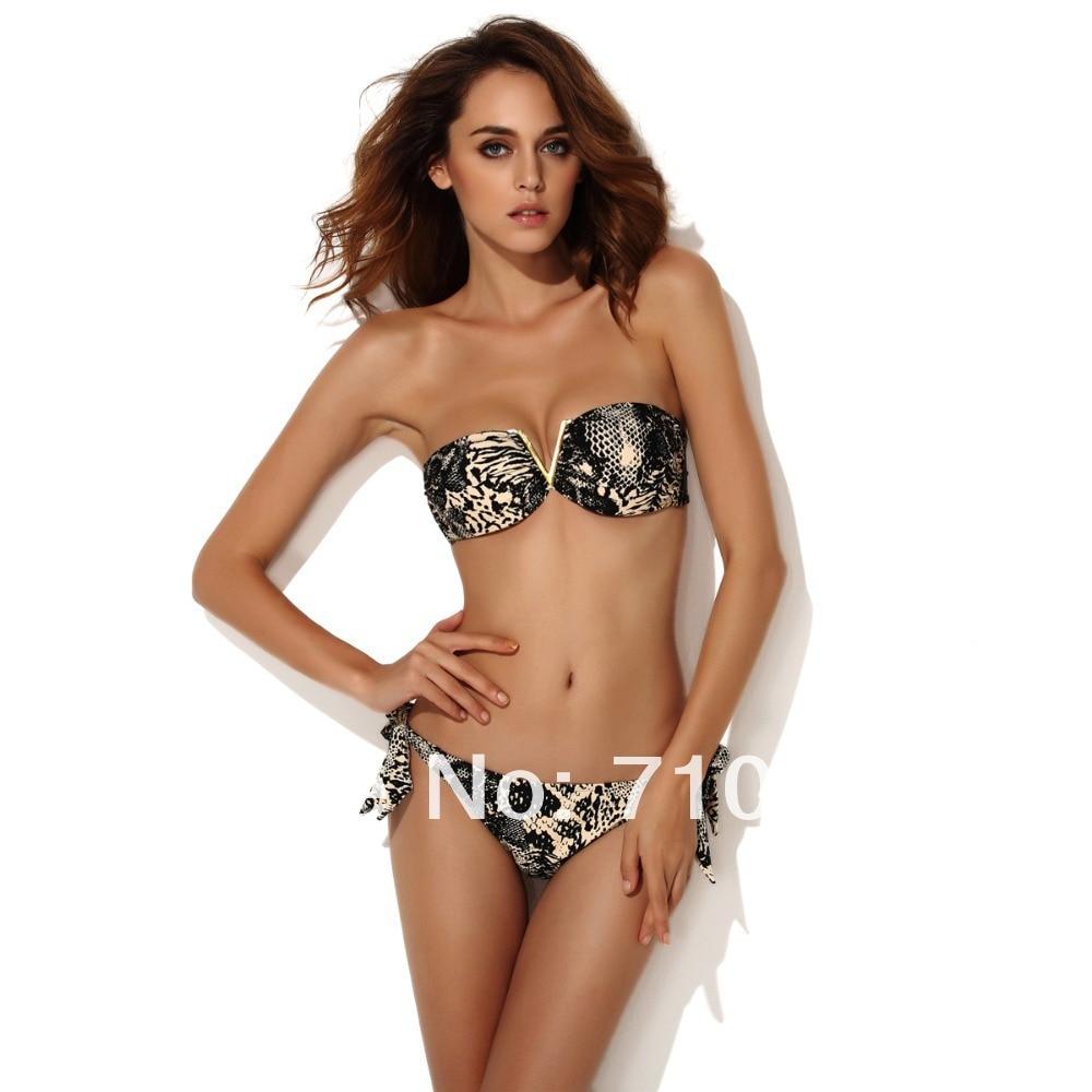 f6d1040d0c599 Women s Top Strapless Bikini Set Glam Metal V Animal Print Sexy Bandeau  Swimsuit Top and Bottom Swimwears Hot   Free Shipping on Aliexpress.com