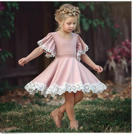 Cute Toddler Kid Baby Girls Dress Short Sleeve Lace Princess Party Pageant Dress