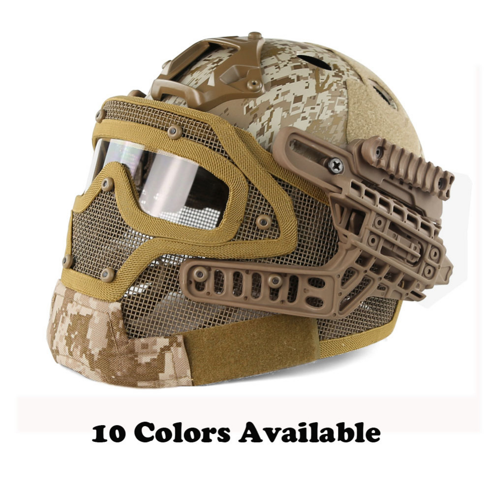 WoSporT G4 System Set PJ Tactical Airsoft Helmet for Military Paintball with Overall Protect Glass Face Mask Goggles 2017new fma maritime tactical helmet abs de bk fg for airsoft paintball tb815 814 816 cycling helmet safety
