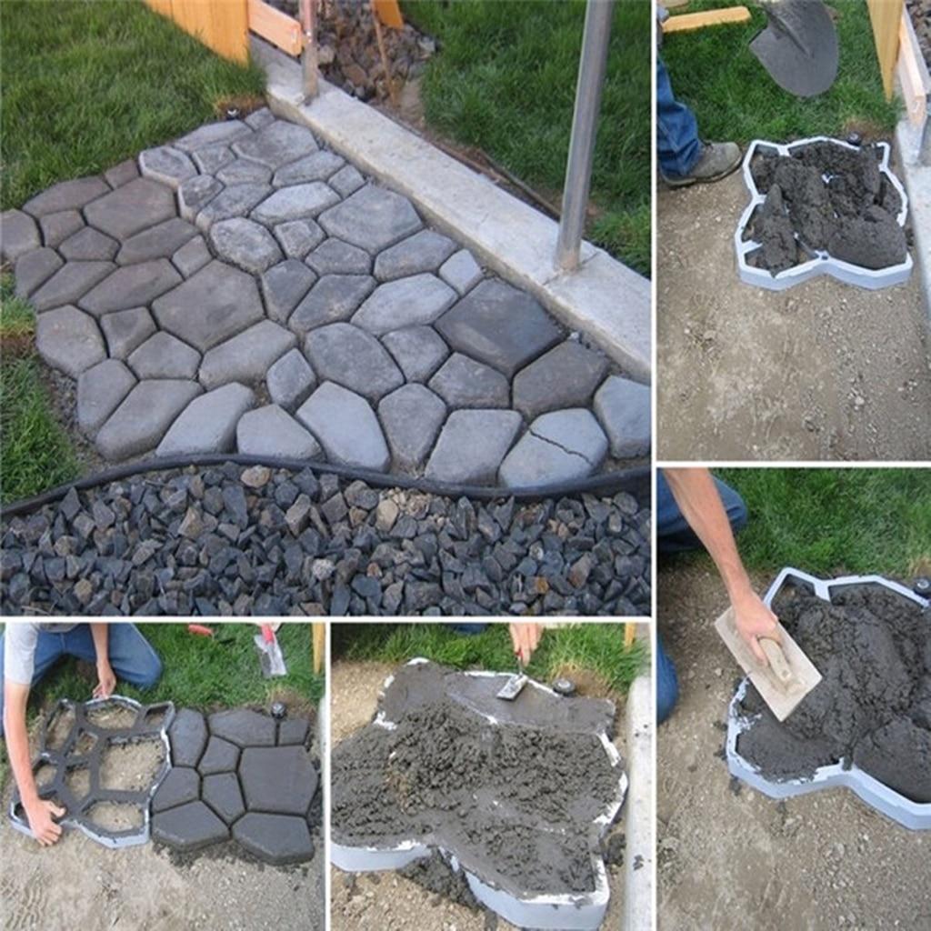 1 Pc Garden Path Maker Mold DIY Plastic Floor Paving Mould Cement Brick Concrete Molds Home Garden Stone Road Decoration Tool