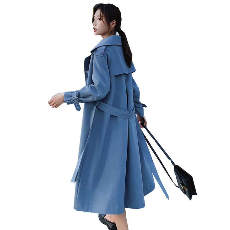 Trench   Coat Long For Women Oversized Casual Windbreaker Femme Elegant Single-Breasted   Trench   Coat Streetwear Office Ladies Q1232