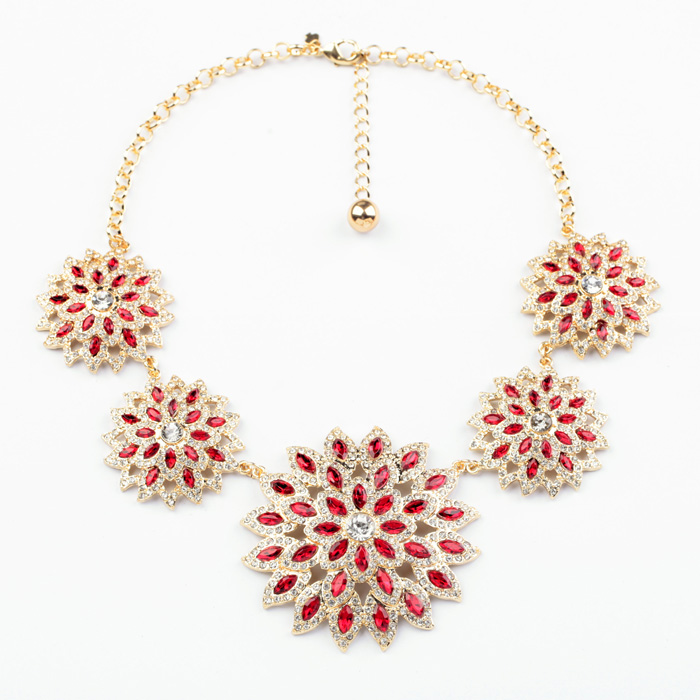 Elegant Shiny Red Crystal Flower Pendants Necklace Gold Color Collar Statement Necklace For Women Party Jewelry