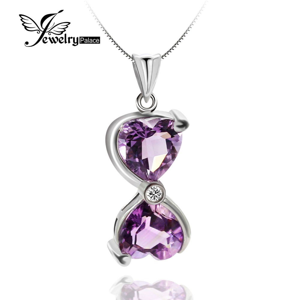 JewelryPalace HEART TO HEART Genuine Natural Amethyst Solid 925 Sterling Silver Pendant Necklaces For Women Gifts Without ChainJewelryPalace HEART TO HEART Genuine Natural Amethyst Solid 925 Sterling Silver Pendant Necklaces For Women Gifts Without Chain