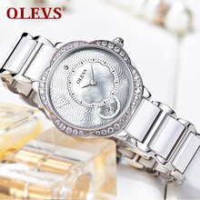 Olevs Popular Quartz Dress Fashion brand Womens Watches silver Rhinestone Wristwatch Ladies Casual relogio brand Luxury Clock