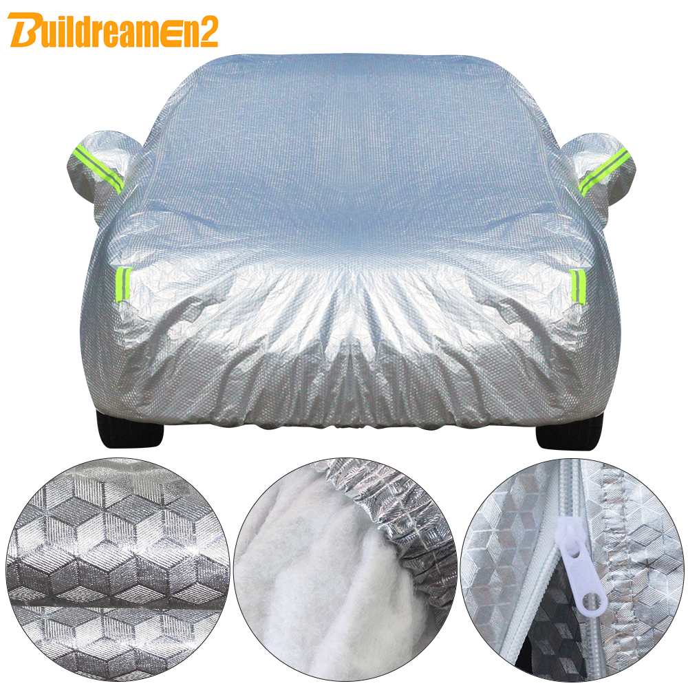 Buildremen2 Thick Car Cover 3 Layer Aluminum Foil + Polyester Taffeta + Cotton Waterproof Sun Rain Hail Resistant Auto Cover(China)