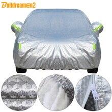 Buildremen2 gruesa cubierta del coche 3 capa de papel de aluminio + tafetán de POLIÉSTER + algodón impermeable Sun lluvia granizo resistente Auto cubierta