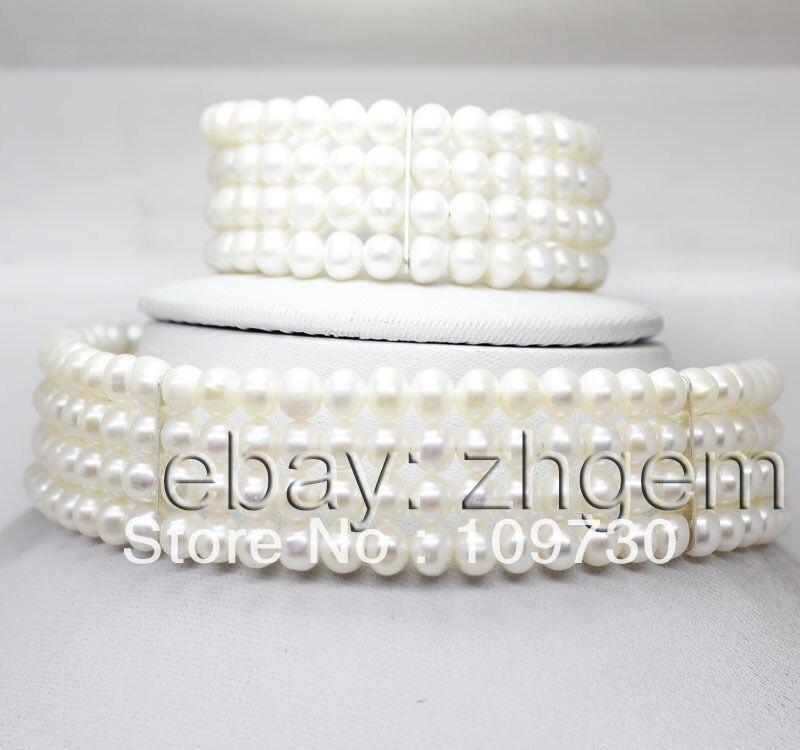 Bijoux 00206 naturel blanc perle de pommes de terre forme perles 4 rangées collier de bracelet extensible (A0423)-Top qualité livraison gratuite