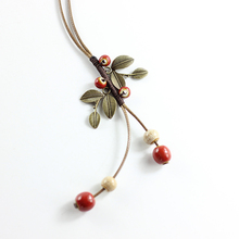 Bohemia Vintage Ceramic Fashion Tassel Necklace for Women Antique Copper Leaves   Accessories Jewelry Long Necklace Pendant