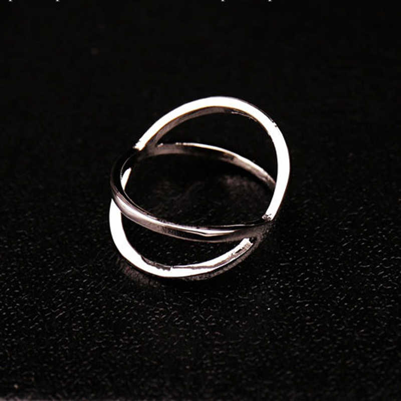 2018 New Fashion Geometry Silver black rings for women ring gold engagement ladies Cross rings Hollowed Out Female Finger Ring